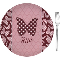 "Polka Dot Butterfly Glass Appetizer / Dessert Plates 8"" - Single or Set (Personalized)"