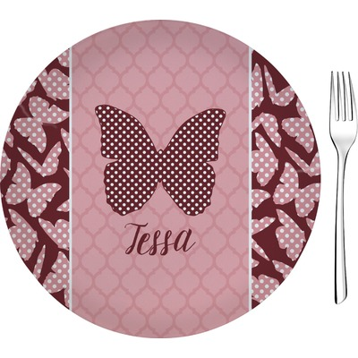 "Polka Dot Butterfly 8"" Glass Appetizer / Dessert Plates - Single or Set (Personalized)"