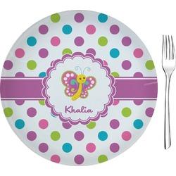 Polka Dot Butterfly Glass Appetizer / Dessert Plates 8