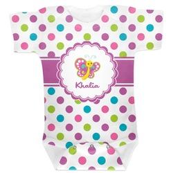Polka Dot Butterfly Baby Bodysuit (Personalized)
