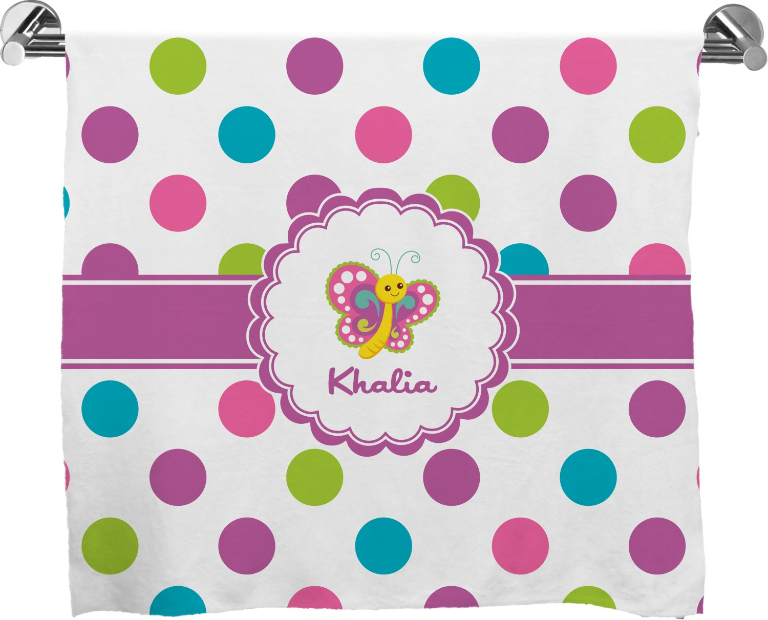 Polka Dot Erfly Full Print Bath Towel Personalized