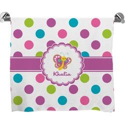 Polka Dot Butterfly Full Print Bath Towel (Personalized)