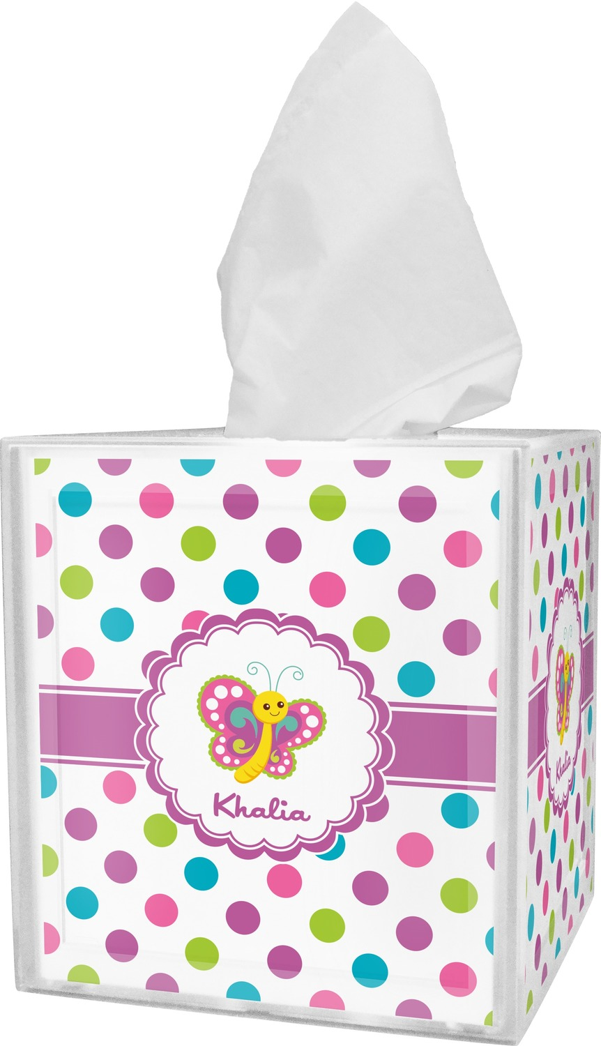 Polka Dot Butterfly Tissue Box Cover (Personalized) · Polka Dot Butterfly Bathroom  Accessories ...