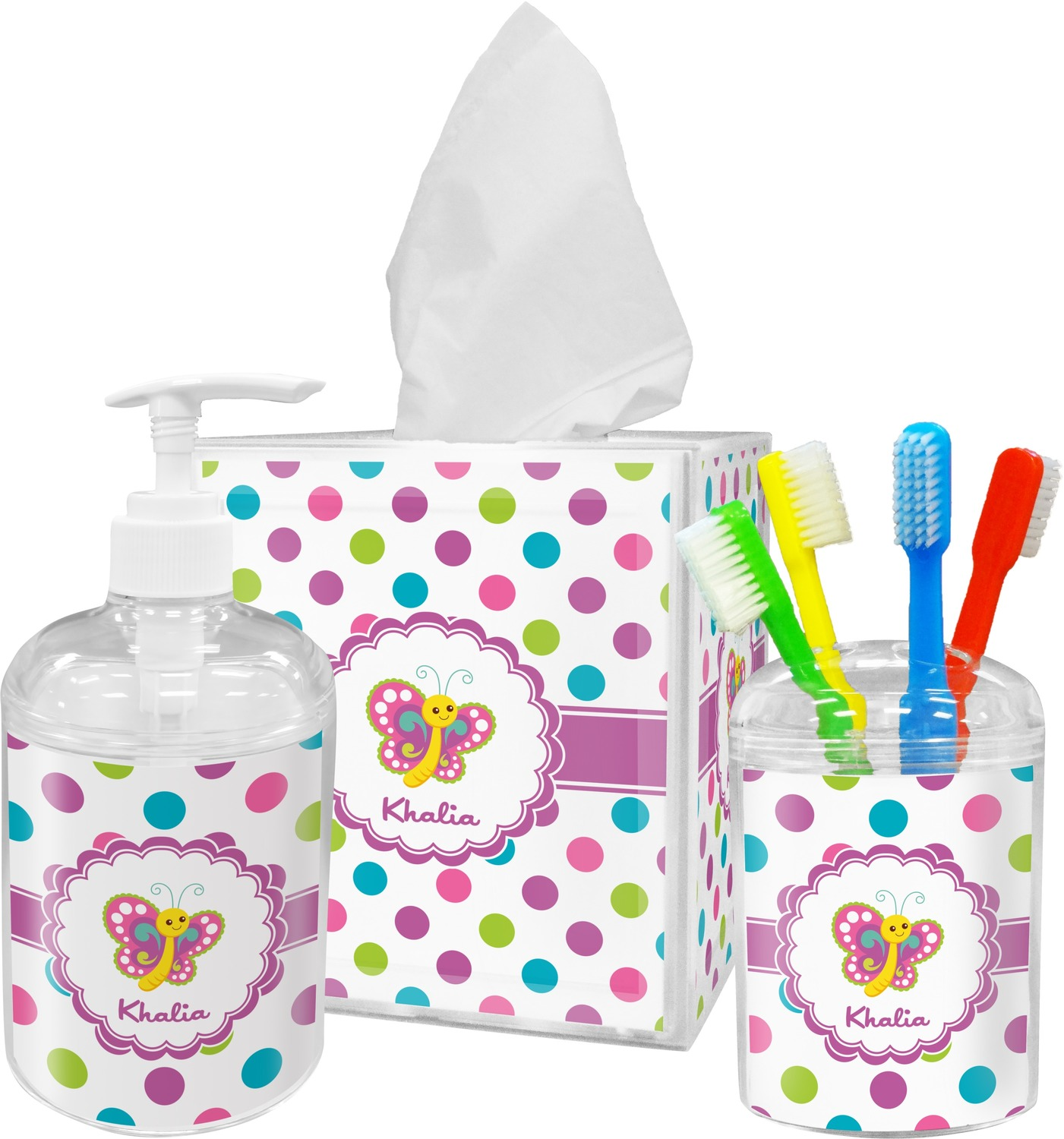 Polka Dot Butterfly Toothbrush Holder Personalized Youcustomizeit