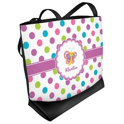 Polka Dot Butterfly Beach Tote Bag (Personalized)