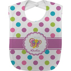 Polka Dot Butterfly Baby Bib (Personalized)