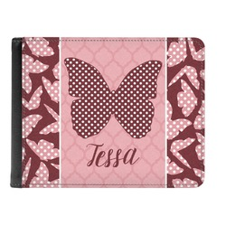 Polka Dot Butterfly Genuine Leather Men's Bi-fold Wallet (Personalized)