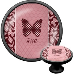 Polka Dot Butterfly Cabinet Knob (Black) (Personalized)