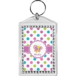 Polka Dot Butterfly Bling Keychain (Personalized)