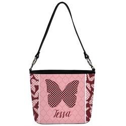 Polka Dot Butterfly Bucket Bag w/ Genuine Leather Trim (Personalized)