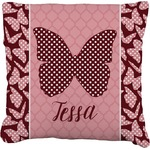 Polka Dot Butterfly Faux-Linen Throw Pillow (Personalized)