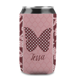 Polka Dot Butterfly Can Sleeve (12 oz) (Personalized)