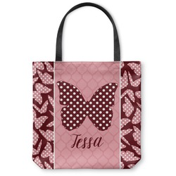 Polka Dot Butterfly Canvas Tote Bag (Personalized)