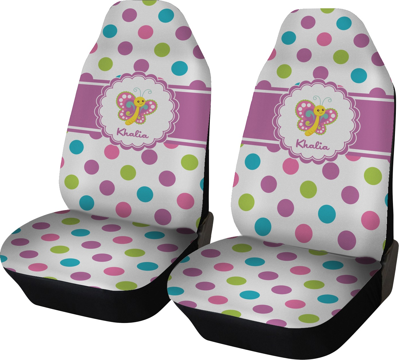 Polka Dot Butterfly Car Seat Covers Set Of Two Personalized