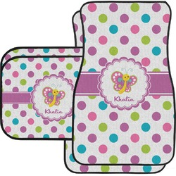 Polka Dot Butterfly Car Floor Mats Set - 2 Front & 2 Back (Personalized)