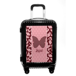 Polka Dot Butterfly Carry On Hard Shell Suitcase (Personalized)