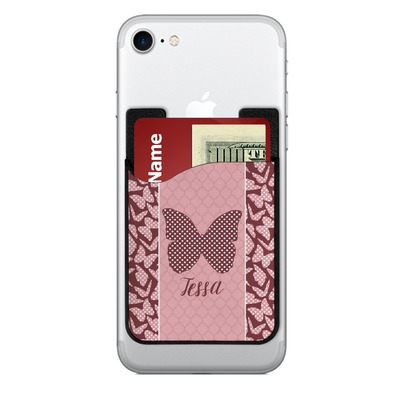 Polka Dot Butterfly 2-in-1 Cell Phone Credit Card Holder & Screen Cleaner (Personalized)