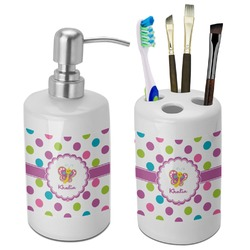 Polka Dot Butterfly Bathroom Accessories Set (Ceramic) (Personalized)