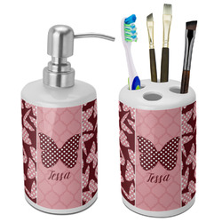 Polka Dot Butterfly Ceramic Bathroom Accessories Set (Personalized)