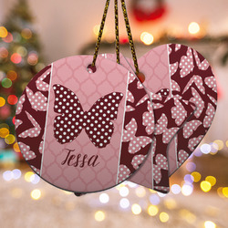 Polka Dot Butterfly Ceramic Ornament w/ Name or Text
