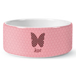 Polka Dot Butterfly Ceramic Dog Bowl (Personalized)
