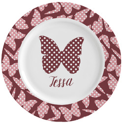 Polka Dot Butterfly Ceramic Dinner Plates (Set of 4) (Personalized)