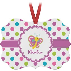 Polka Dot Butterfly Ornament (Personalized)