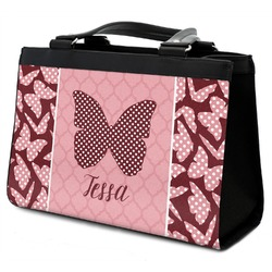 Polka Dot Butterfly Classic Tote Purse w/ Leather Trim w/ Name or Text