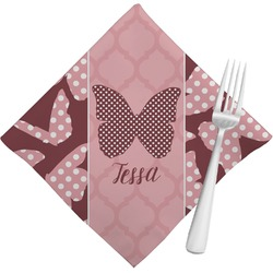 Polka Dot Butterfly Cloth Napkins (Set of 4) (Personalized)