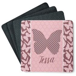 Polka Dot Butterfly Square Rubber Backed Coasters - Set of 4 (Personalized)