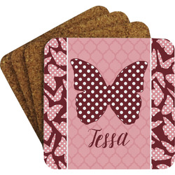 Polka Dot Butterfly Coaster Set (Personalized)