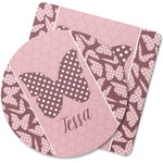 Polka Dot Butterfly Rubber Backed Coaster (Personalized)