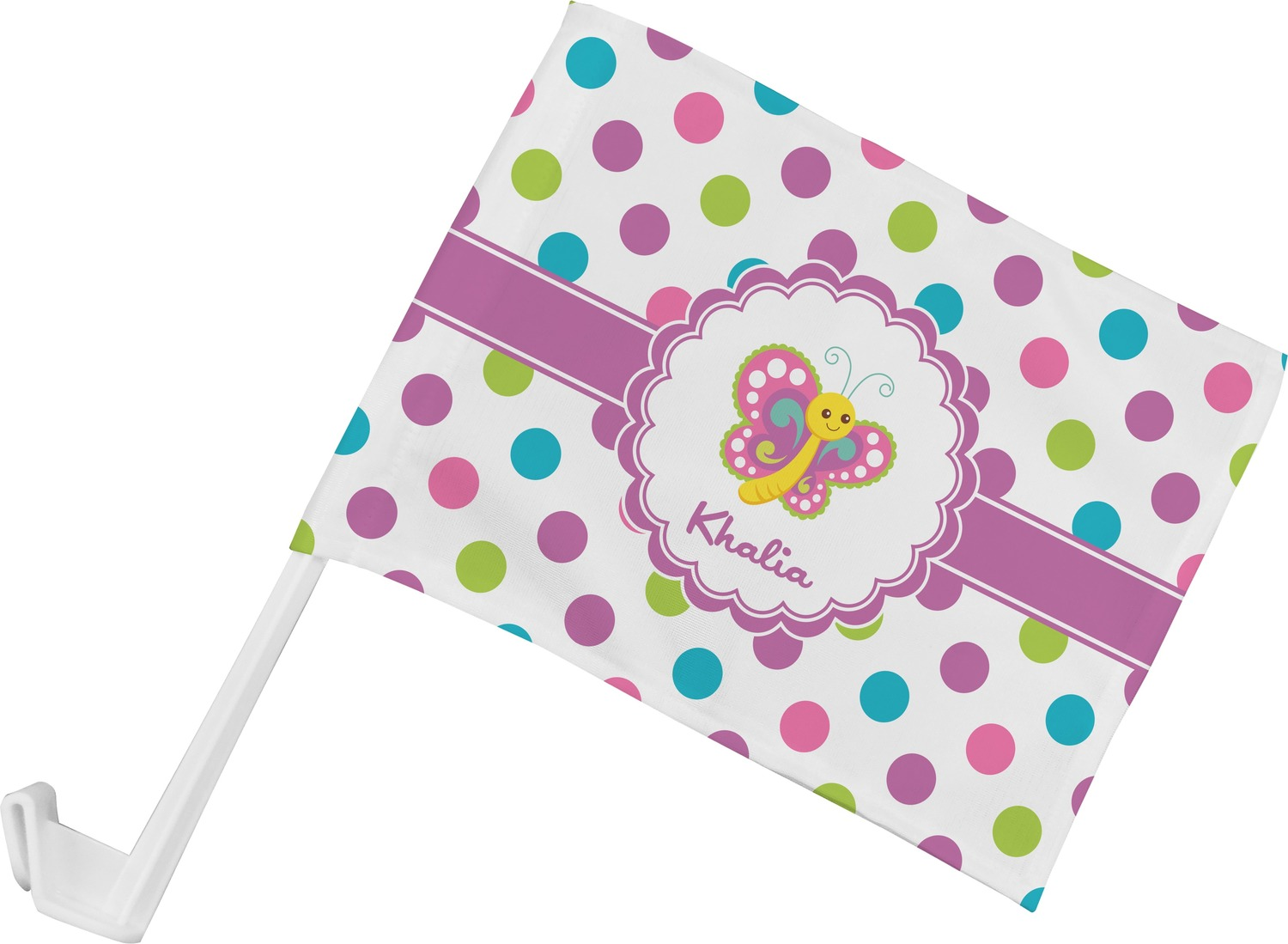 Design car flags - Polka Dot Butterfly Car Flag Personalized