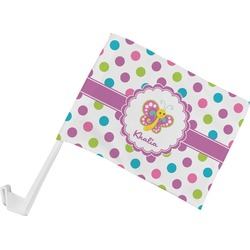 Polka Dot Butterfly Car Flag (Personalized)