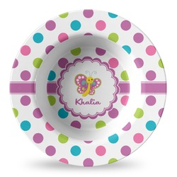 Polka Dot Butterfly Plastic Bowl - Microwave Safe - Composite Polymer (Personalized)