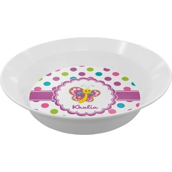 Polka Dot Butterfly Melamine Bowl (Personalized)