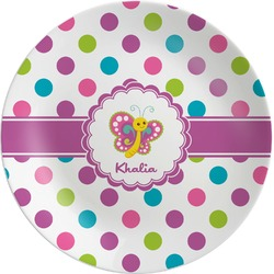 Polka Dot Butterfly Melamine Plate (Personalized)