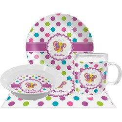 Polka Dot Butterfly Dinner Set - 4 Pc (Personalized)