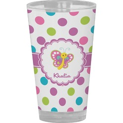 Polka Dot Butterfly Drinking / Pint Glass (Personalized)