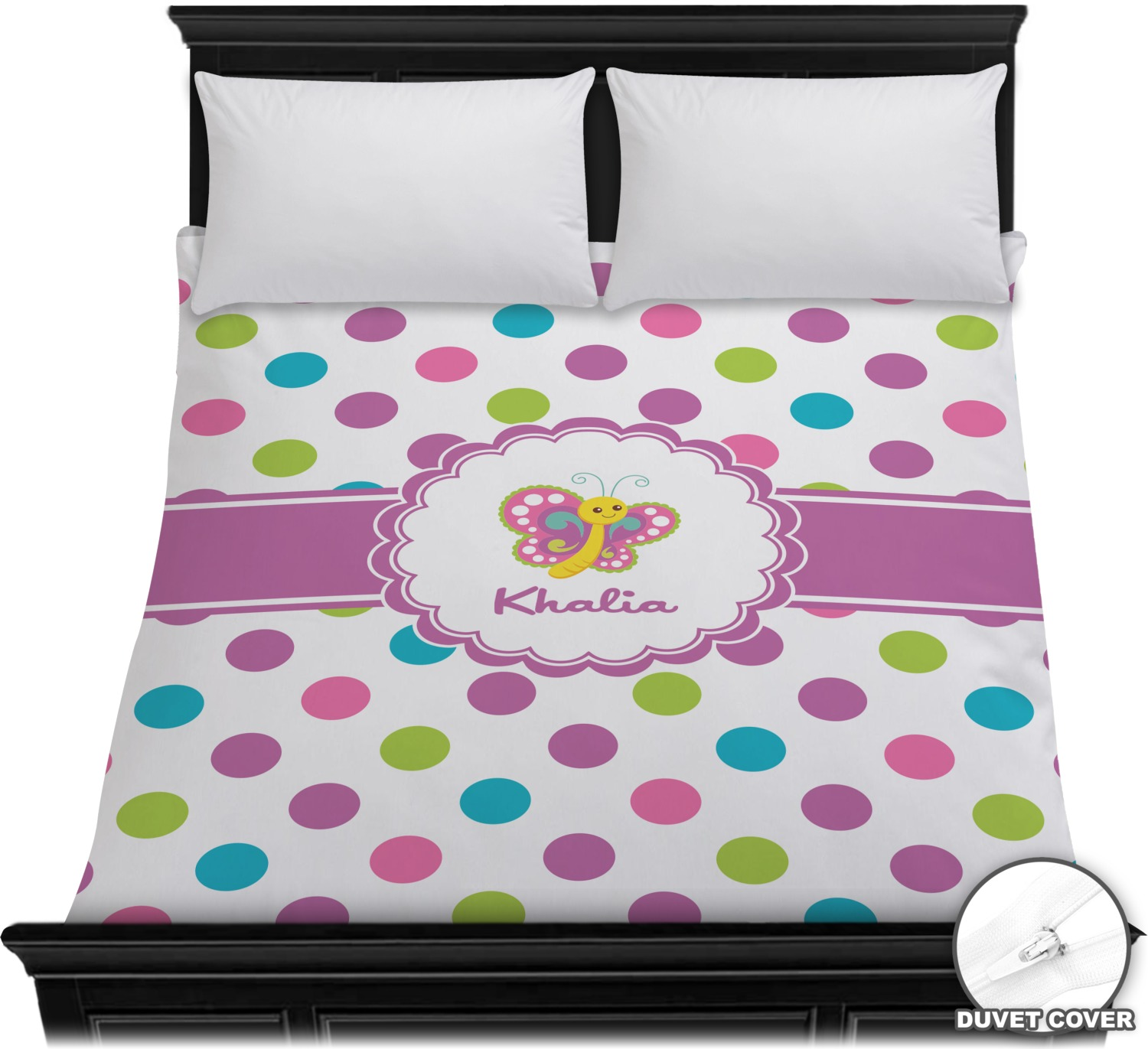 polka dot butterfly duvet cover full queen personalized youcustomizeit. Black Bedroom Furniture Sets. Home Design Ideas
