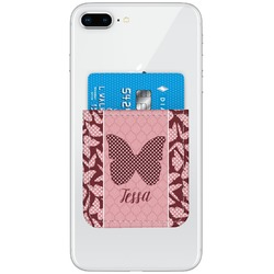 Polka Dot Butterfly Genuine Leather Adhesive Phone Wallet (Personalized)