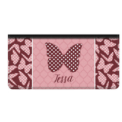 Polka Dot Butterfly Genuine Leather Checkbook Cover (Personalized)