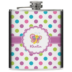 Polka Dot Butterfly Genuine Leather Flask (Personalized)