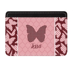 Polka Dot Butterfly Genuine Leather Front Pocket Wallet (Personalized)