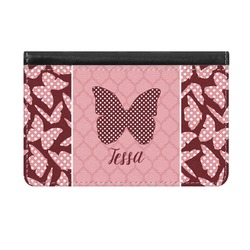 Polka Dot Butterfly Genuine Leather ID & Card Wallet - Slim Style (Personalized)