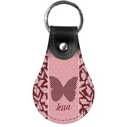 Polka Dot Butterfly Genuine Leather  Keychain (Personalized)