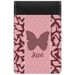 Polka Dot Butterfly Genuine Leather Small Memo Pad (Personalized)