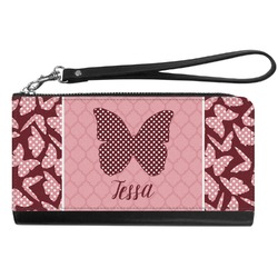 Polka Dot Butterfly Genuine Leather Smartphone Wrist Wallet (Personalized)