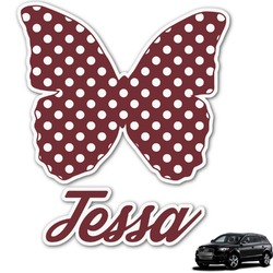 Polka Dot Butterfly Graphic Car Decal (Personalized)