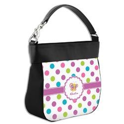 Polka Dot Butterfly Hobo Purse w/ Genuine Leather Trim (Personalized)